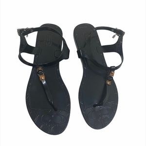 Coach Black Piccadilly Jelly Thong Sandals